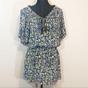 Rebecca Taylor floral dress blue 100% silk